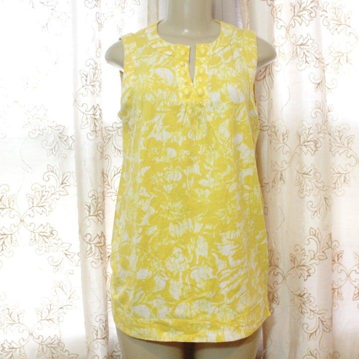 Jones NY Yellow Tie Dye Embellished Top