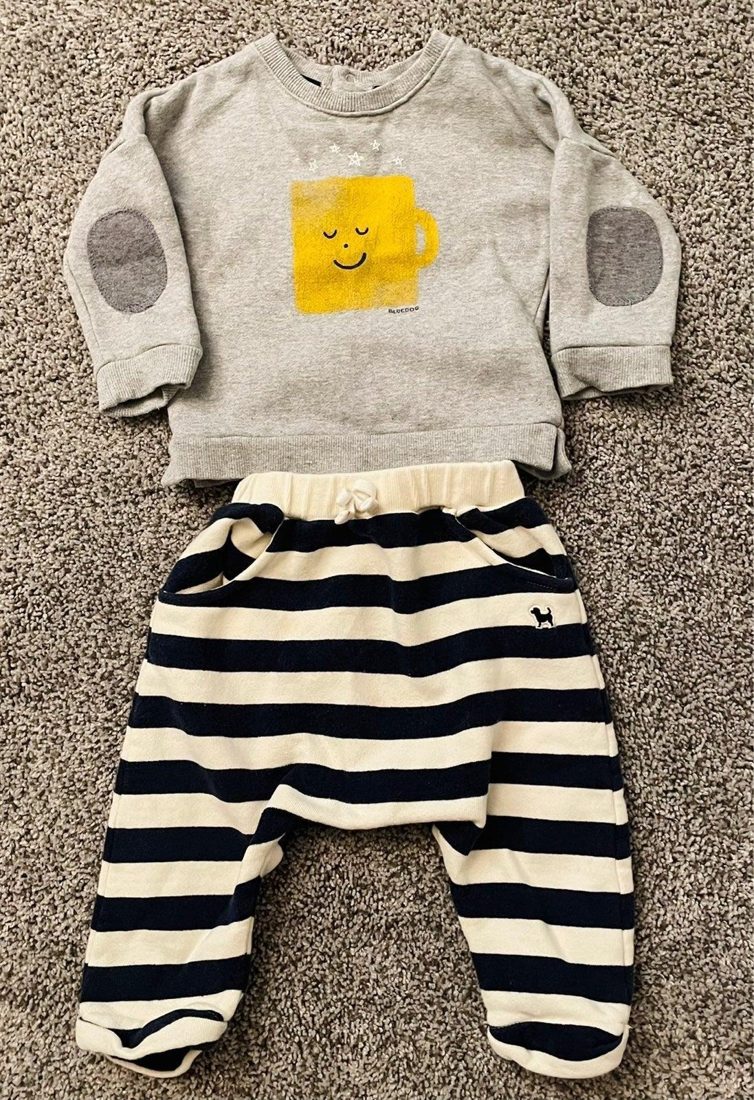 Bluedog sweater + striped sweatpants