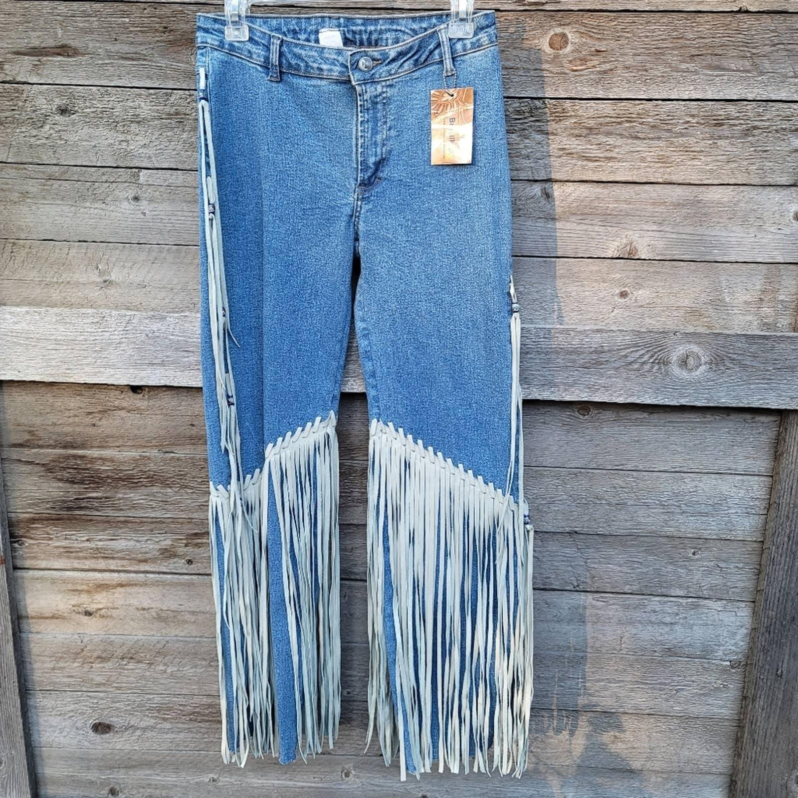 Leather Fringe Denim Jeans