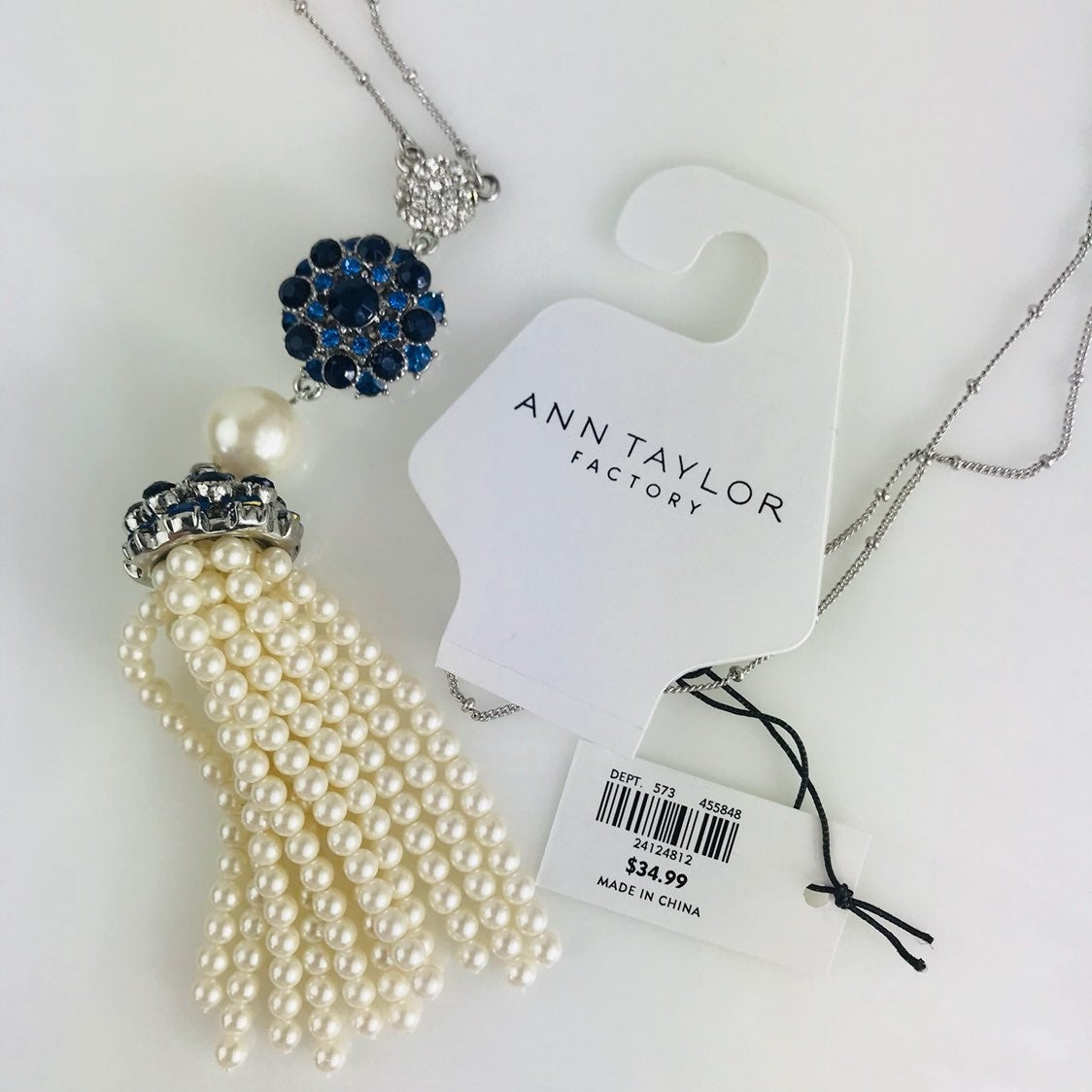 Ann Taylor White Bead Tassel Necklace