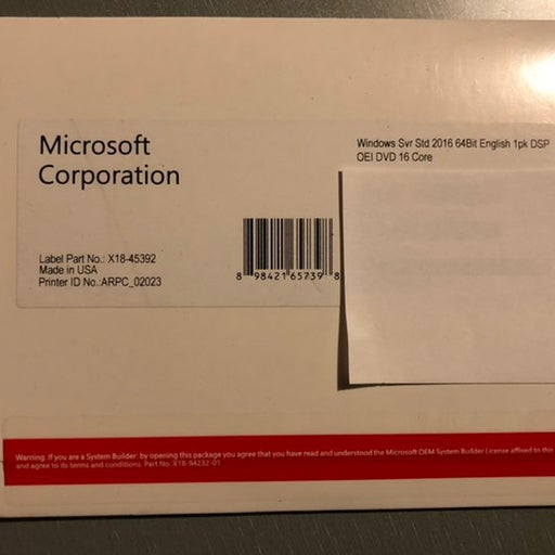 Microsoft Windows Svr Std 2016