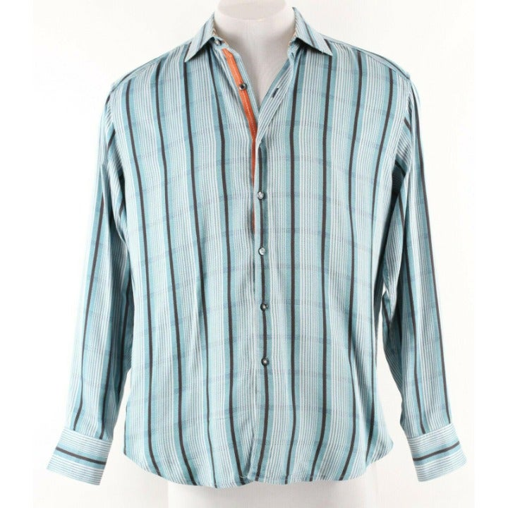 Robert Graham Sz L Aqua Multi Shirt
