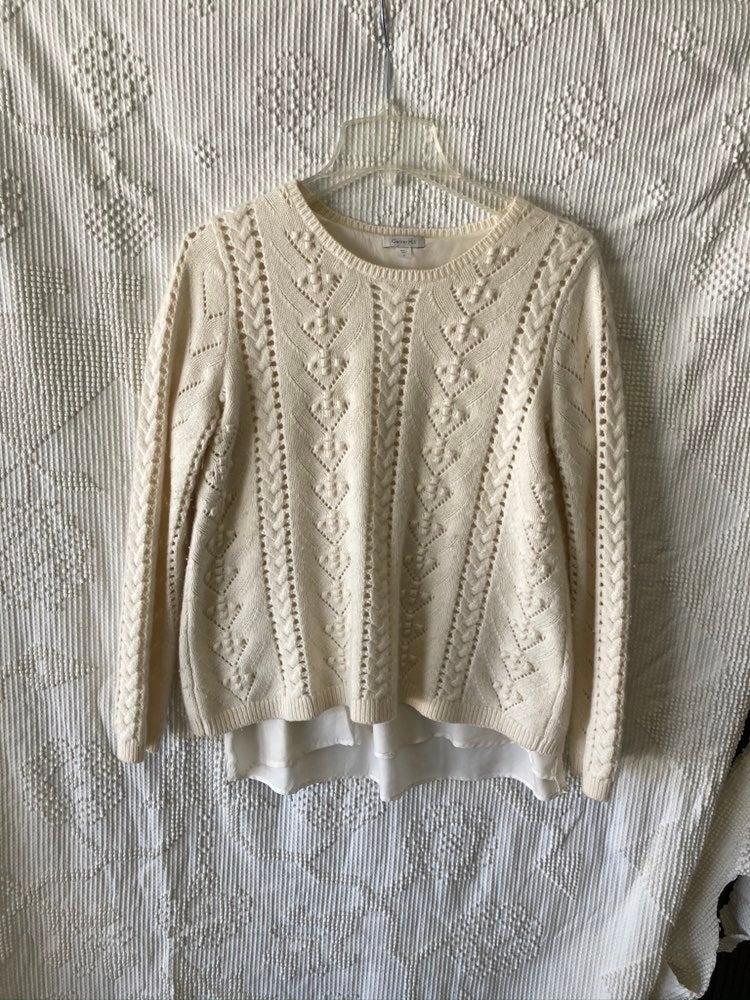 Garnet Hill Sweater Cream Size Small
