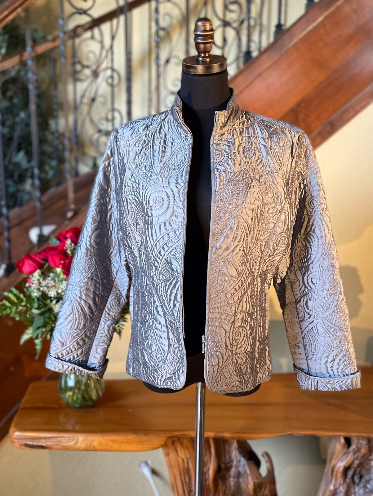 Metallic Silver Chico's Dressy Jacket