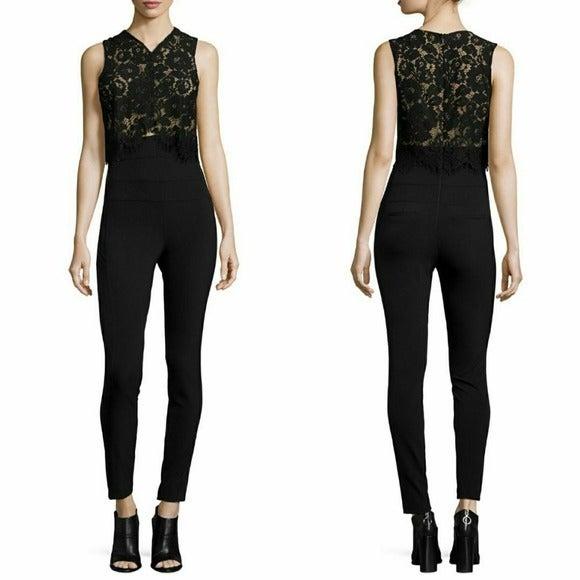 Veronica Beard Black Lace Top Jumpsuit