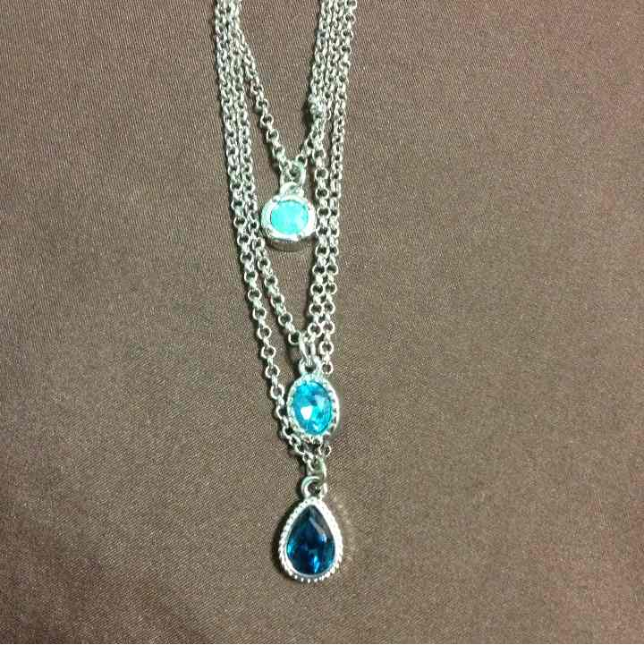Jessica Simpson long silver necklace