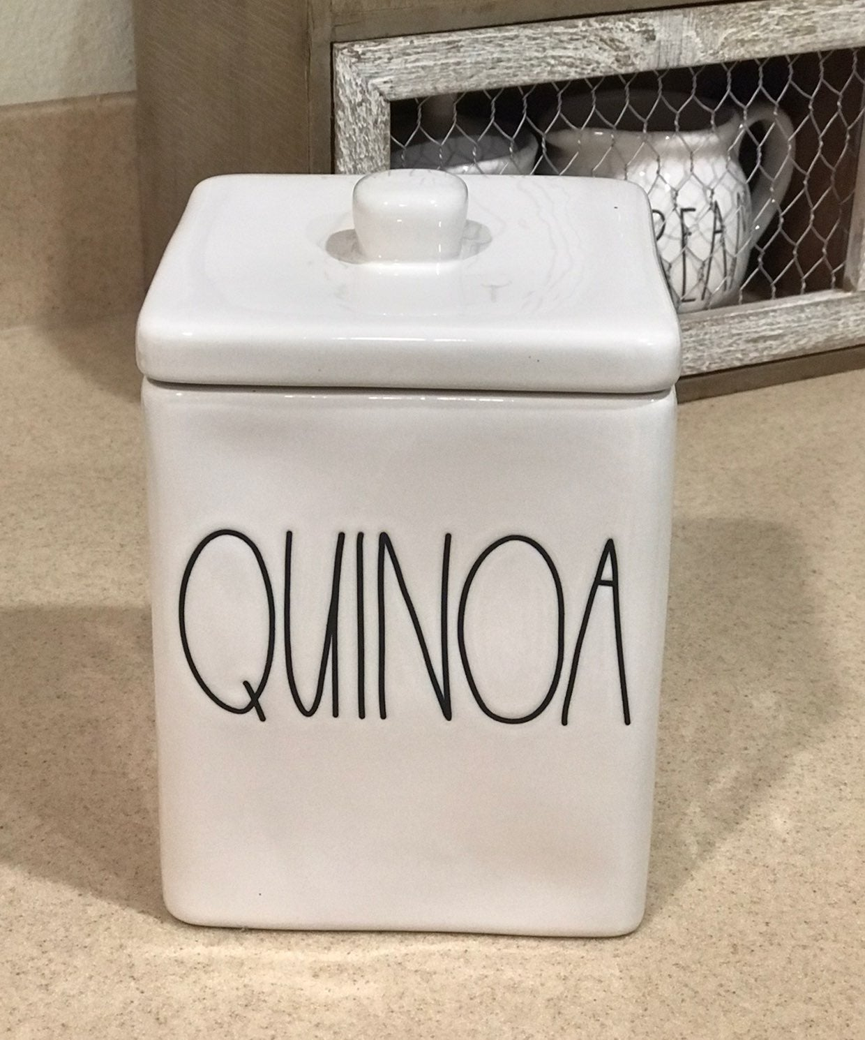 Rae Dunn QUINOA canister square