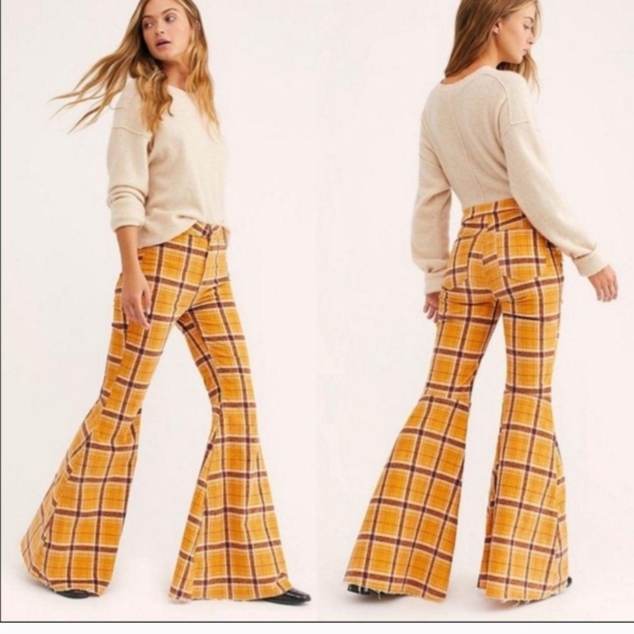 Free people mustard plaid jeans