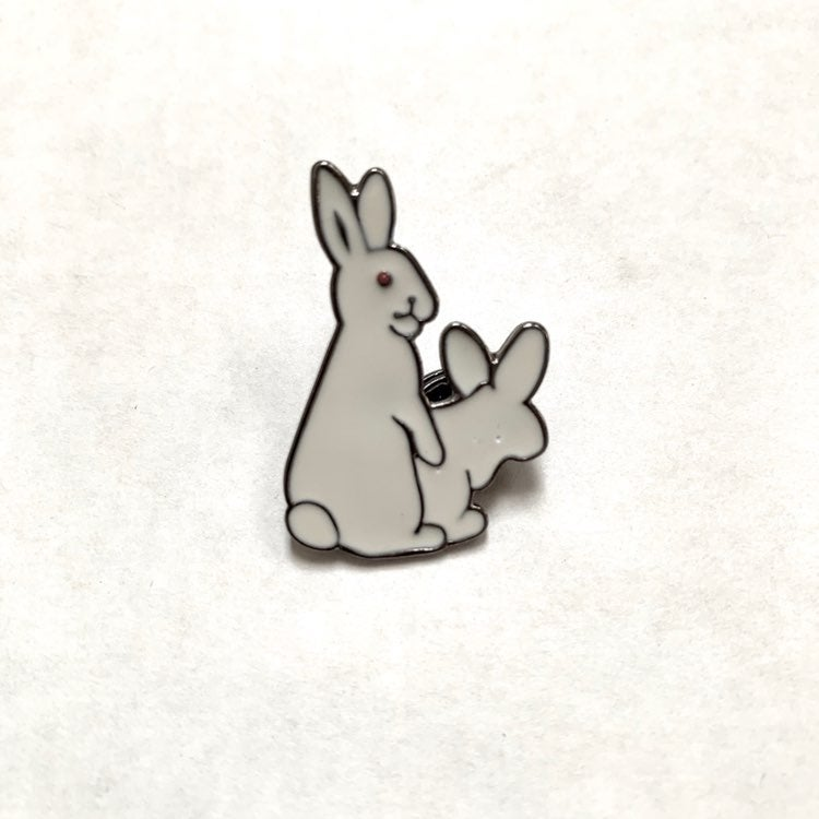 Passionate white bunnies enamel pin