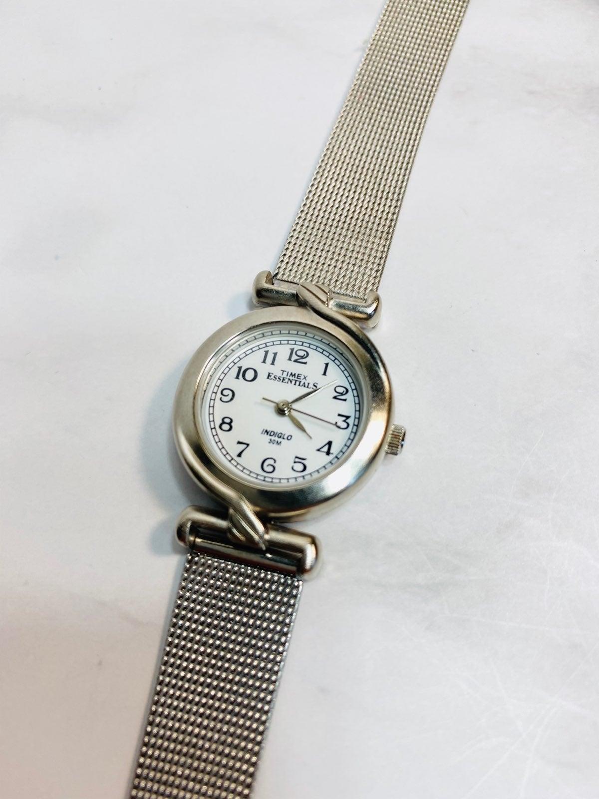 Ladies Timex Indiglo Watch Silver Mesh