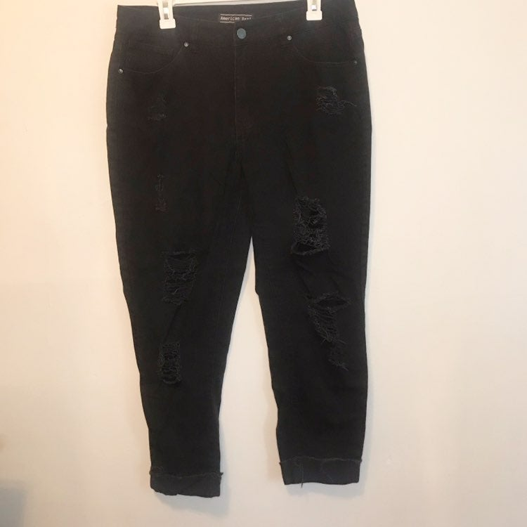 American Bazi Cropped Destroyed Jeans