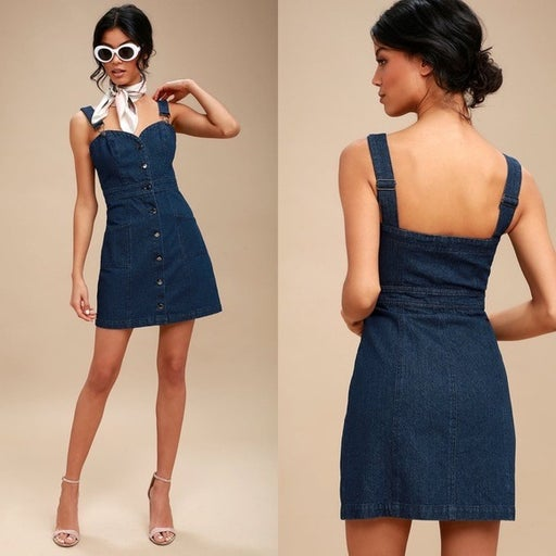 Lulus Luanne Button-Up Overall Dress