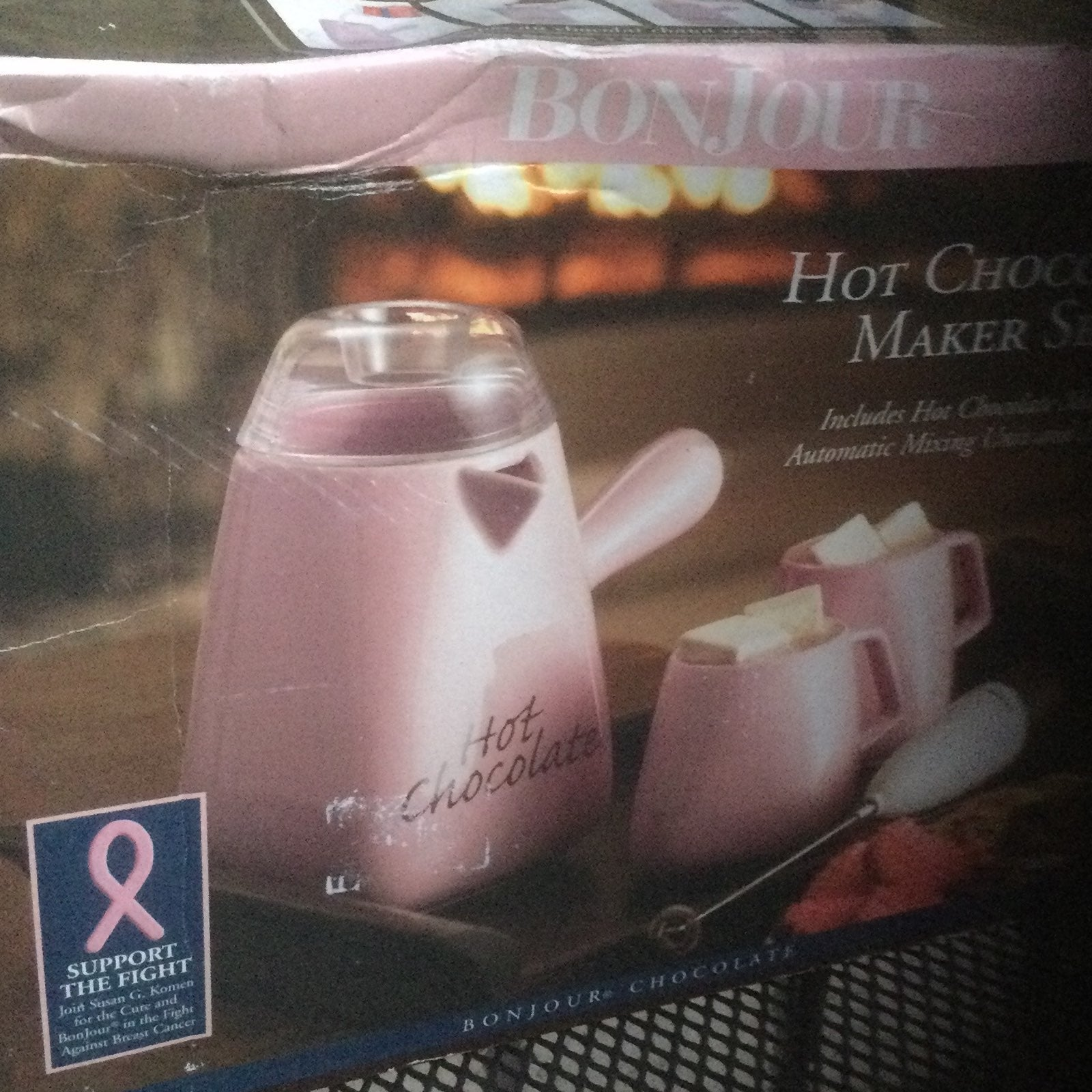 NEW BONJOUR HOT CHOCOLATE MAKET PINK SET