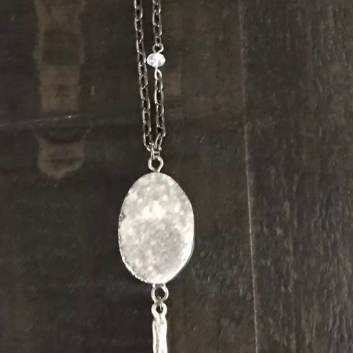 Large oval white druzy stone necklace
