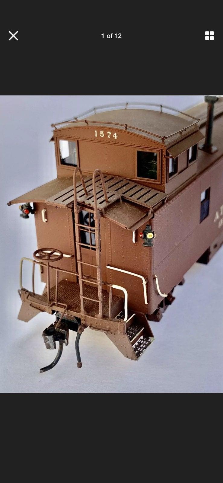 Santa Fe Brass Caboose HO Scale Train VG