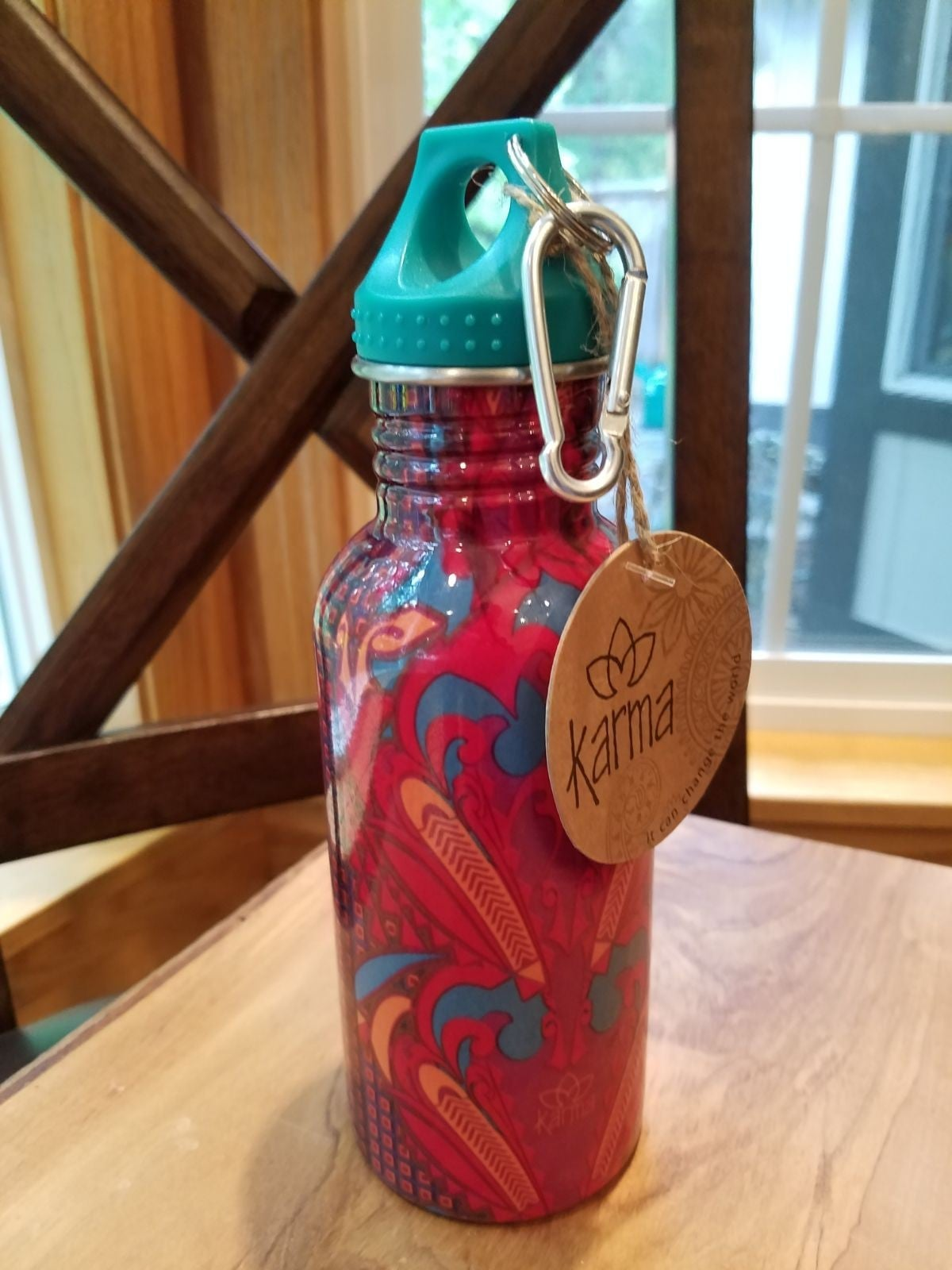 """""""KARMA"""" WATER BOTTLE WITH CLIP, NWT"""