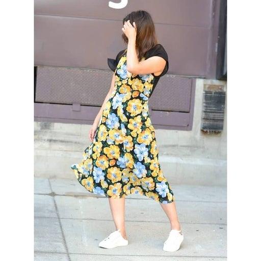 Club Monaco Floral Cutout Midi Dress