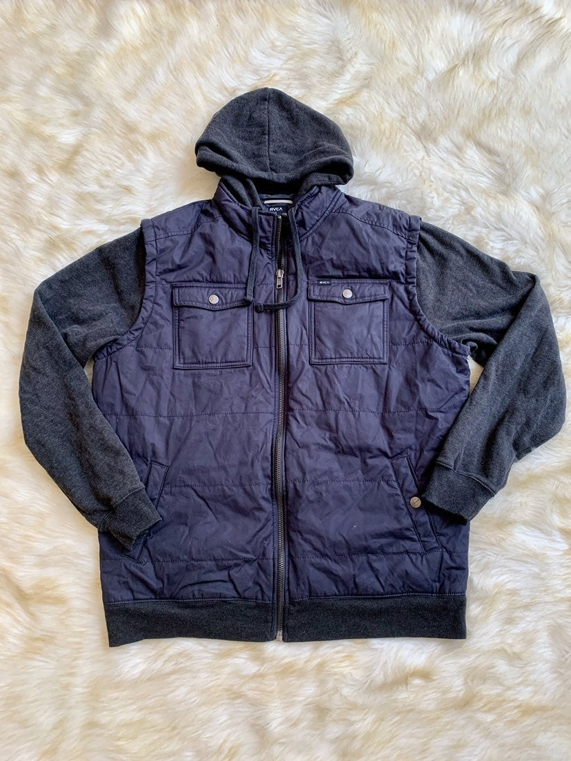 RVCA men's hooded navy grey blue jacket