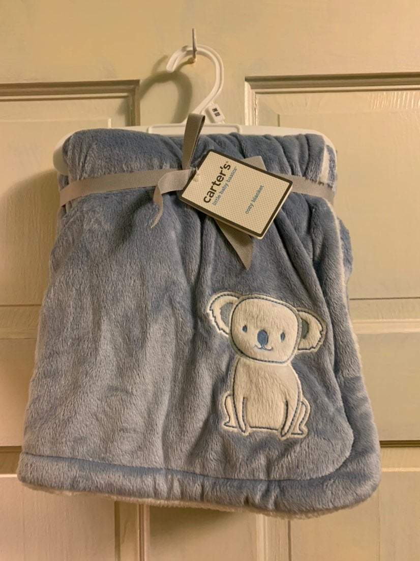 Carter's Cozy NEW Blue Baby Blanket