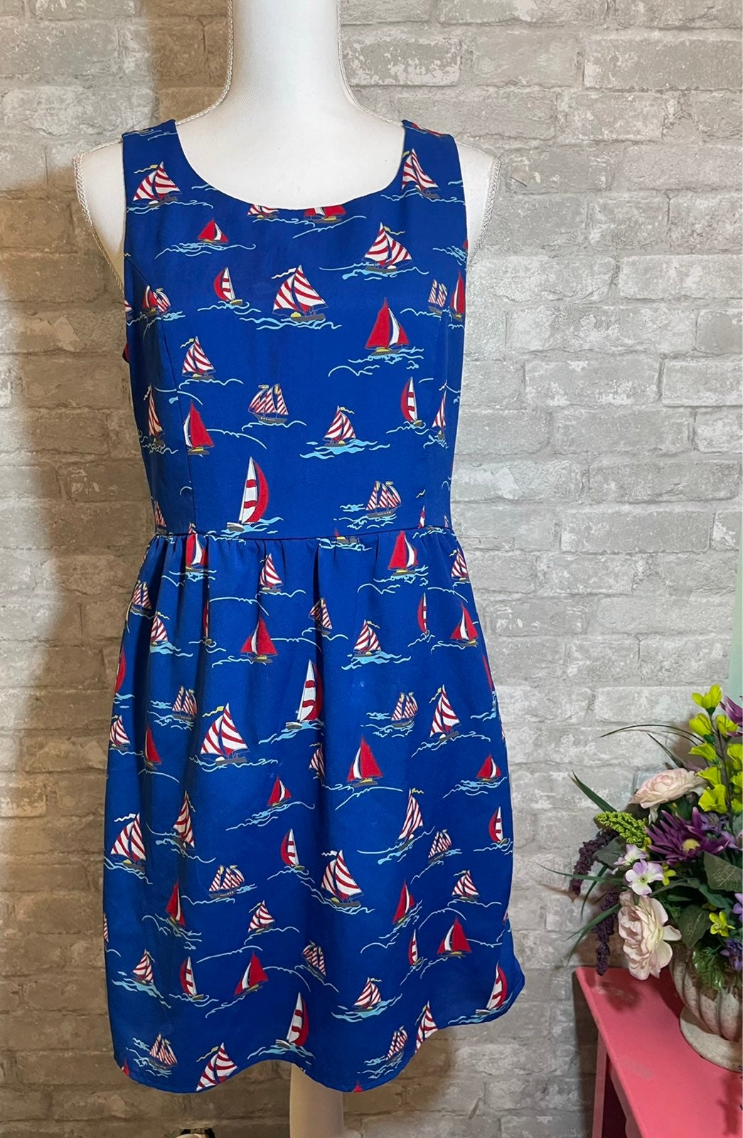 Pink Owl Dress Sailboat Print Dress M