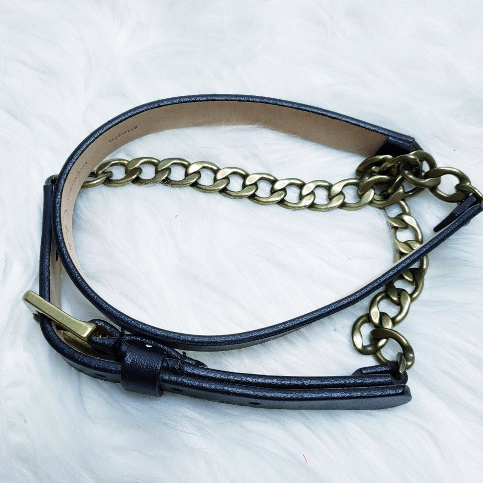 Talbots leather gold chain belt