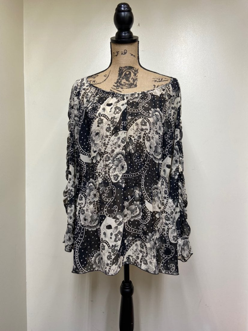 Bisou Bisou Sheer Floral Tunic Ruched Sl