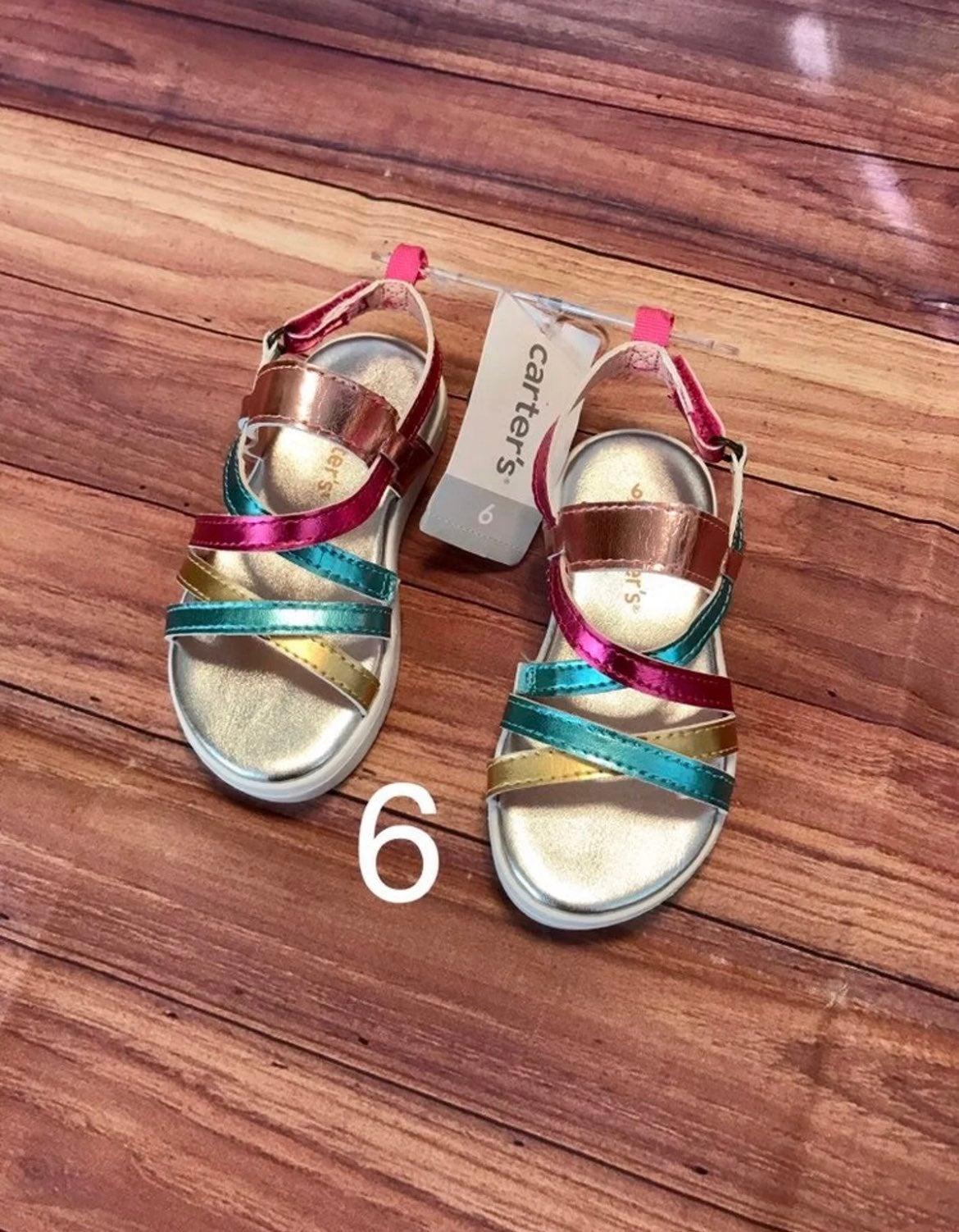 New Carters Rainbow Platform Sandals 6