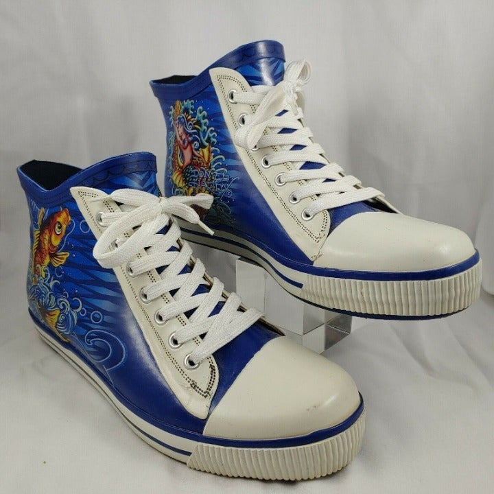Ed Hardy Rubber Rain Shoes US 9 High Top