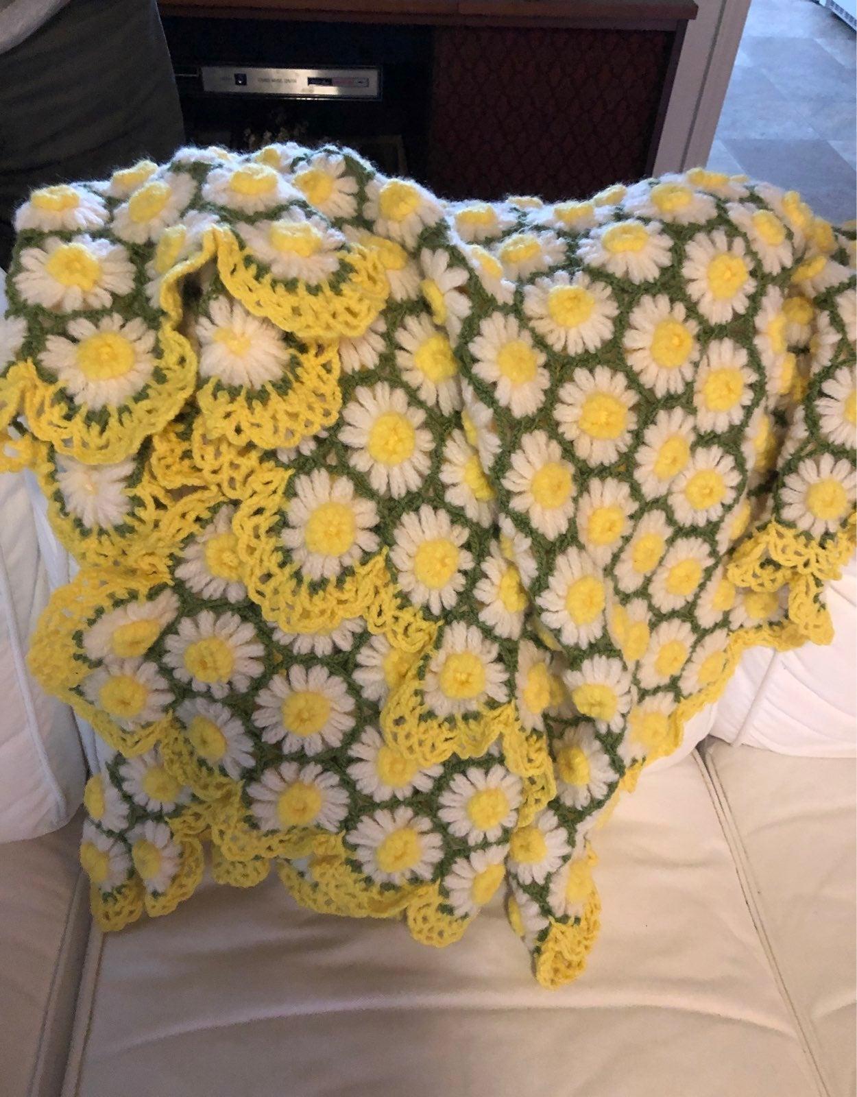Handmade crocheted daisy afghan