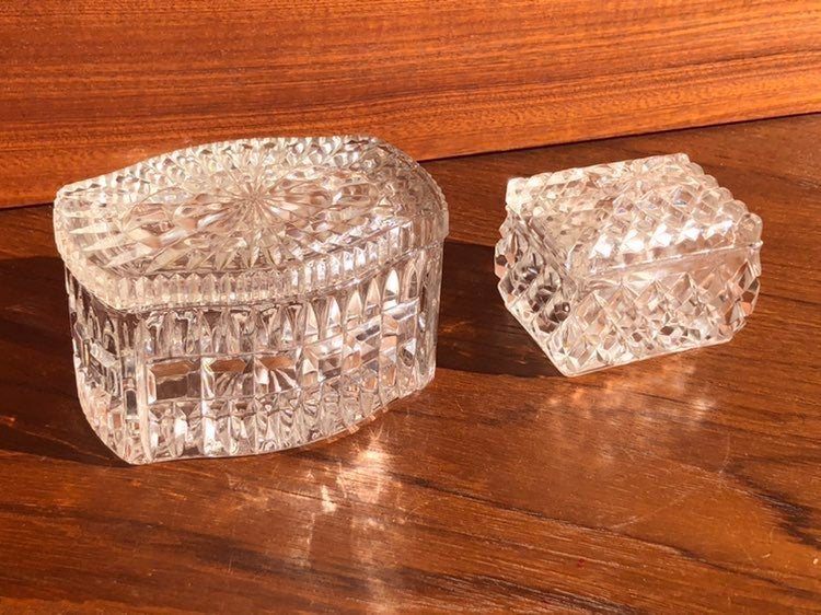 2 Glass Candy Dishes / Containers