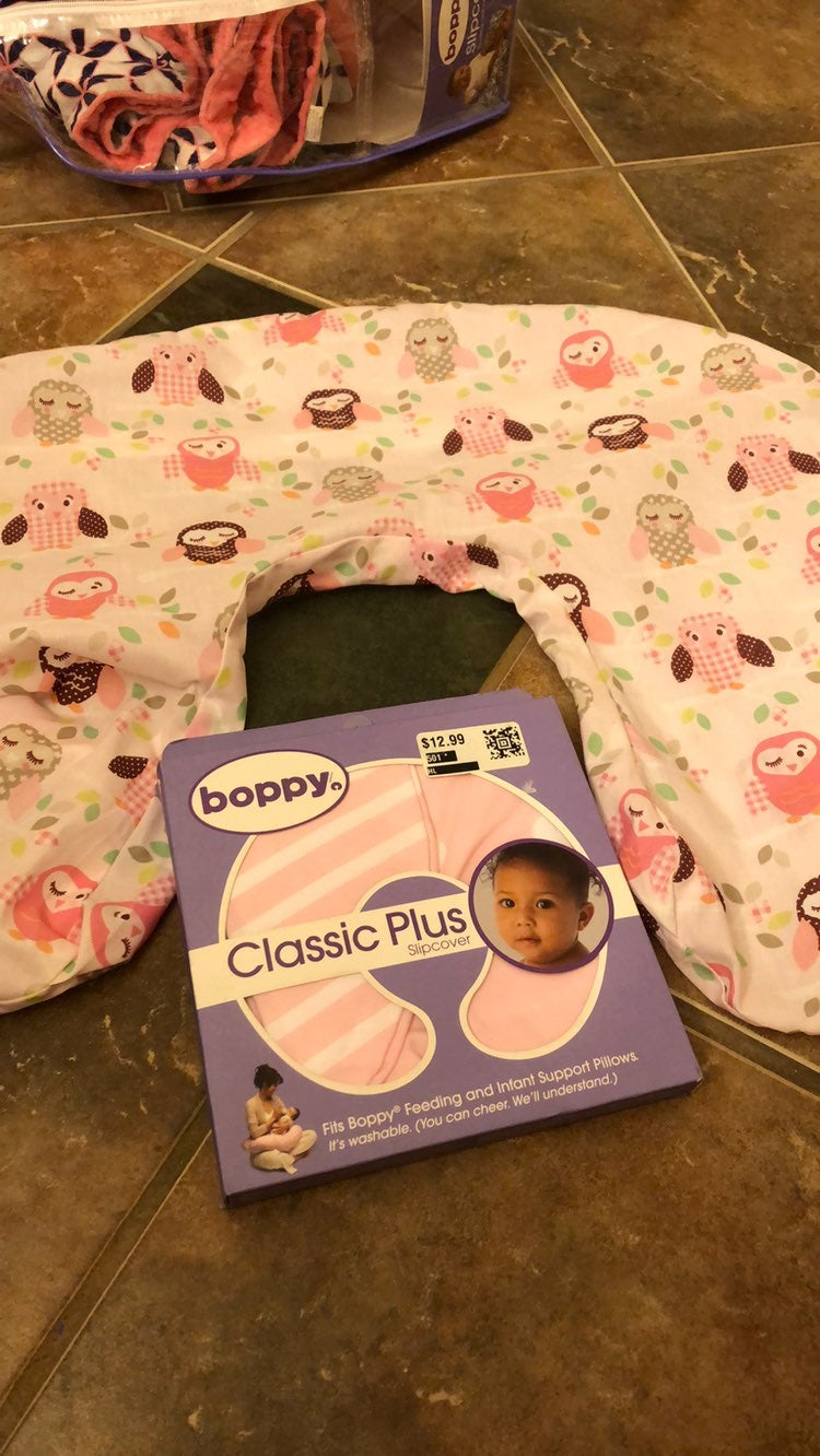 2 New Boppy Pillow Slip Covers Pink Owls