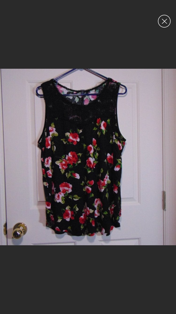Ambiance Black Floral Boutique Lace Tank