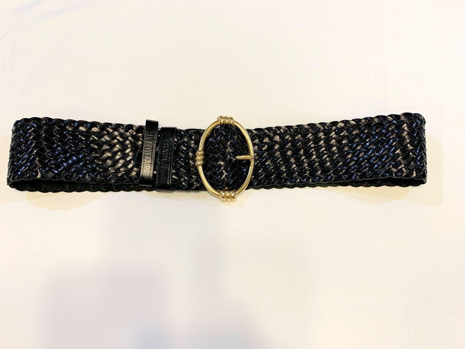Prada Woven Black Belt