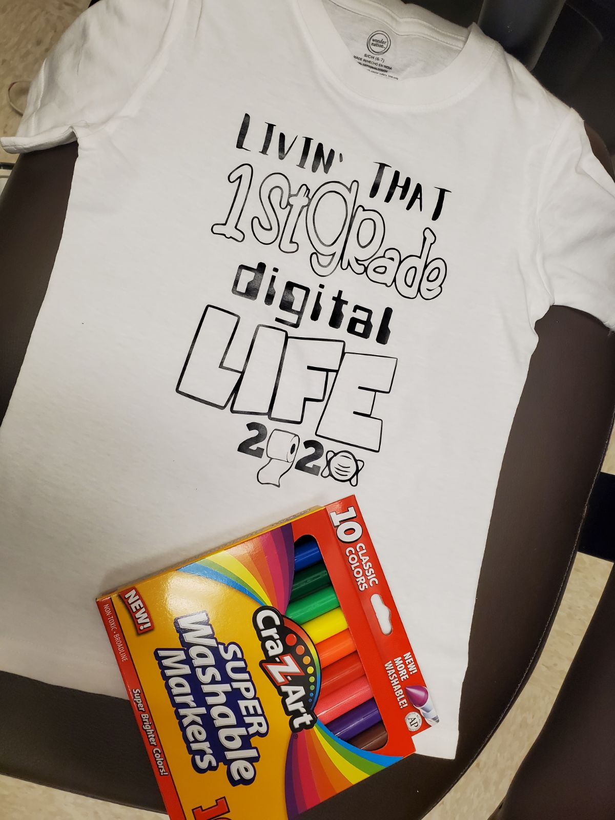 Virtual school coloring t-shirt