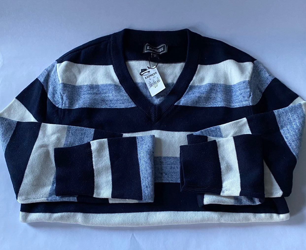 Mens Blue Stripe Sweater