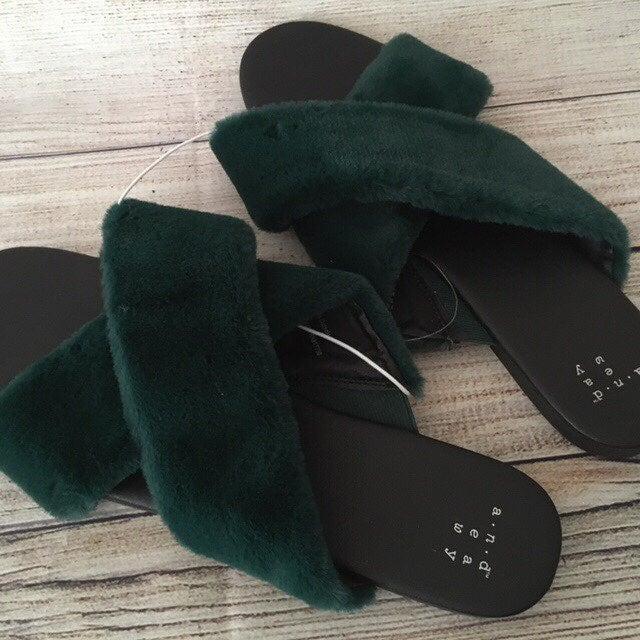 Green Slippers, Size 6