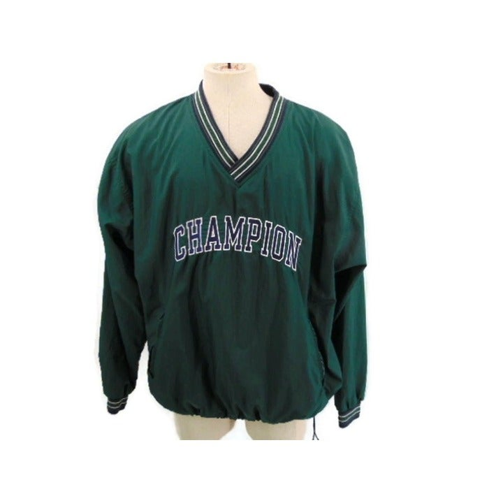 Champion Green Nylon Pullover Jacket XL