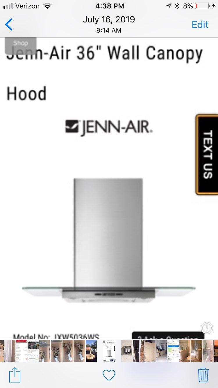 Jenn Air JXW5036WSO kitchen exhaust hood