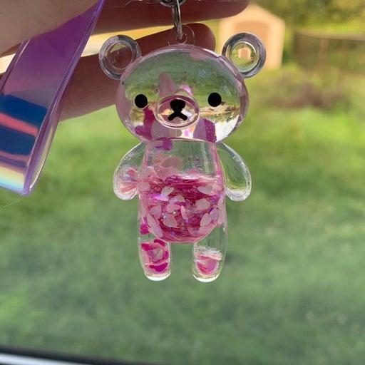 Pink glitter bear keychain