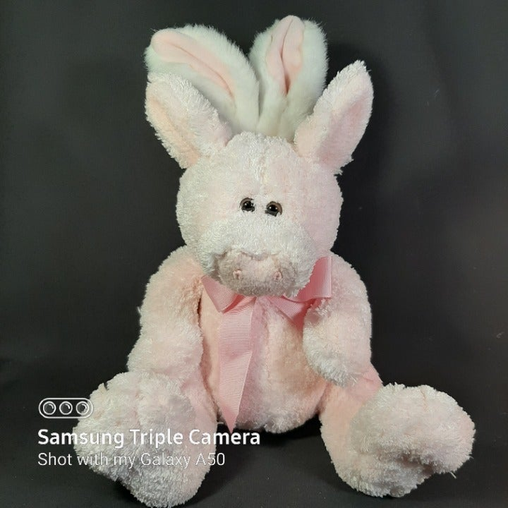 Pink Plush Piglet with Bunny Ears & Tail