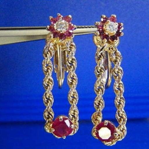 14k YG 1.50ct Diamond Ruby Earrinings