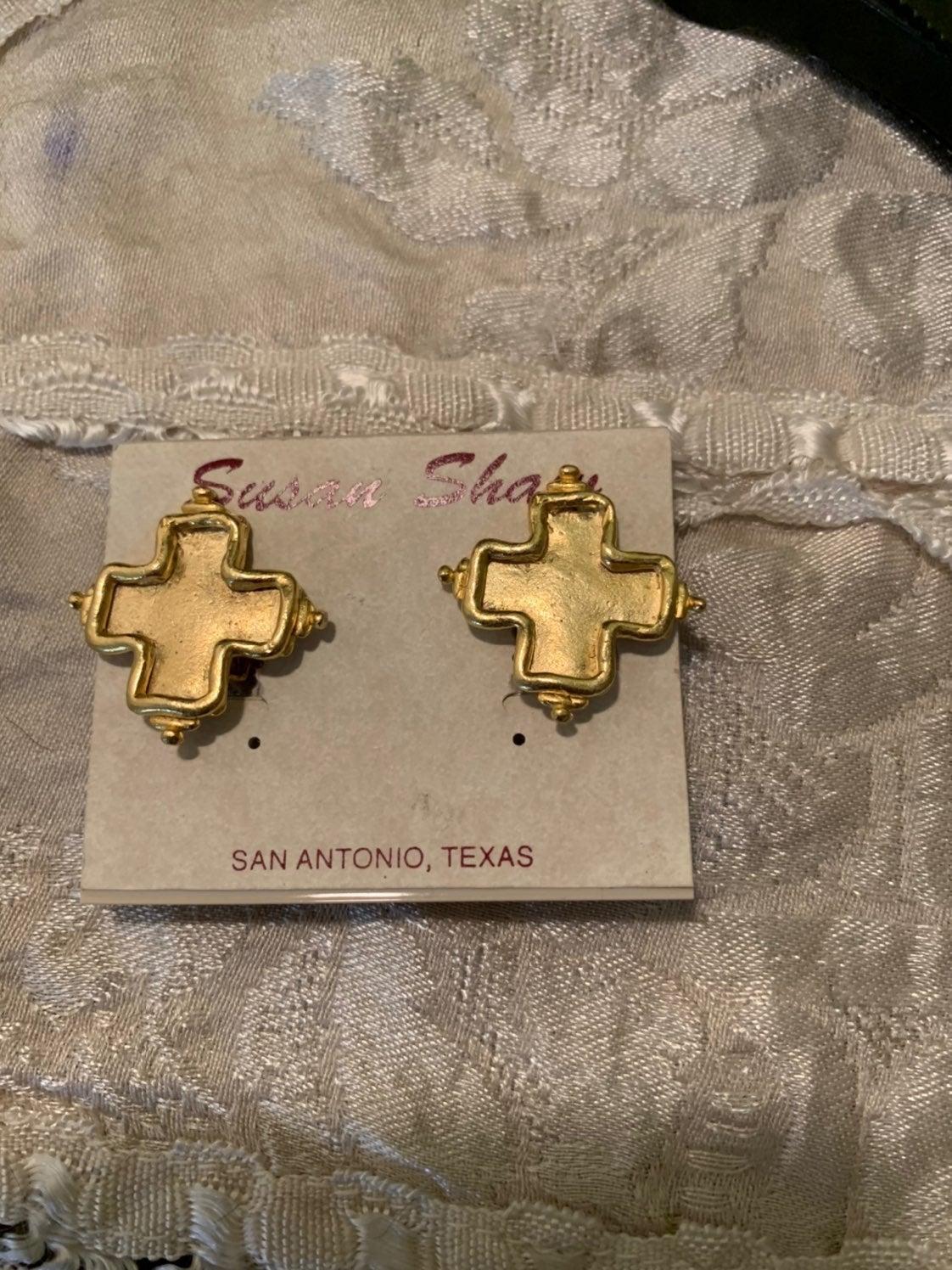 Susan Shaw CLIP Earrings Gold