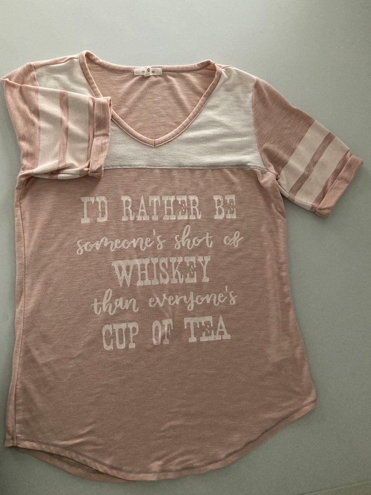 Pink t-shirt w/whiskey quote