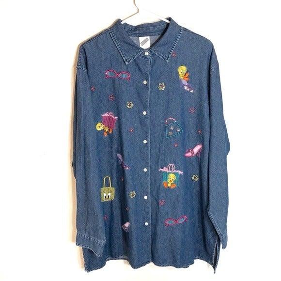 Vintage Tweety Denim Embroidered Button