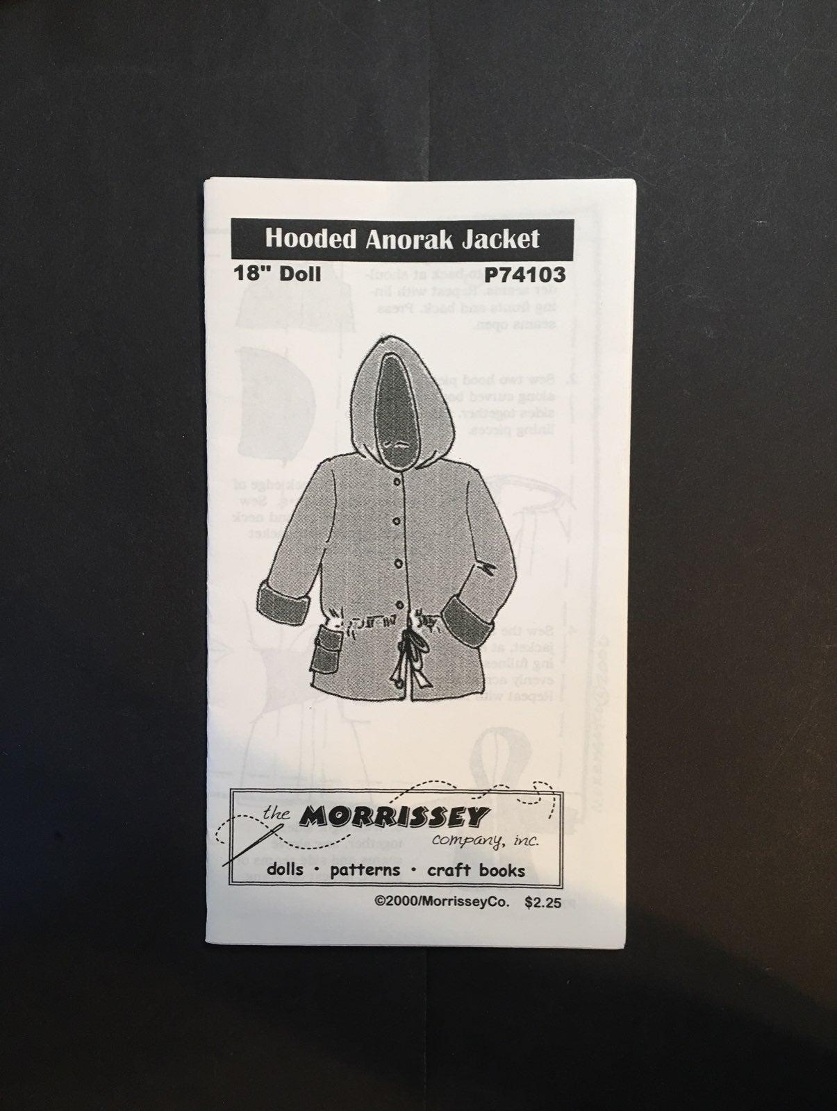 "Hooded Anorak Jacket pattern 18"" doll"
