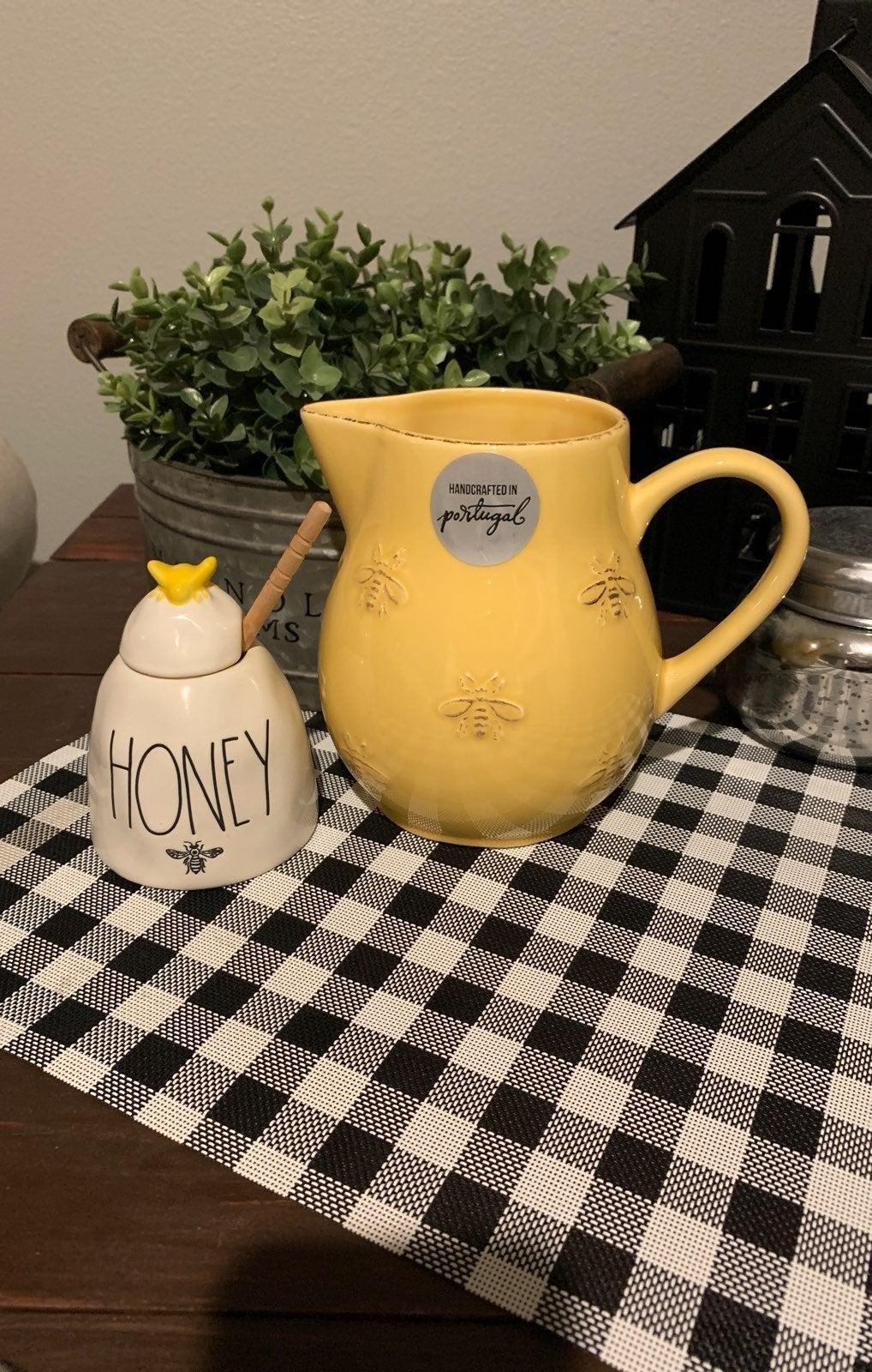 Rae Dunn Honey Pot & Bee Pitcher