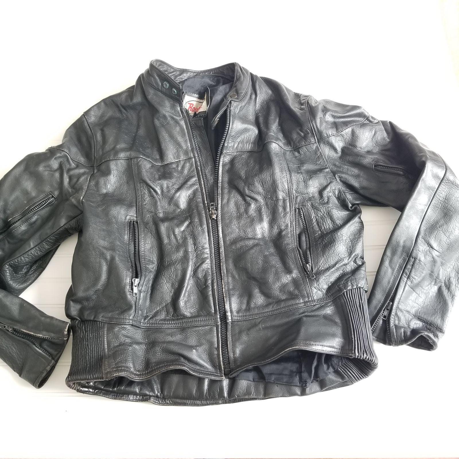 Vintage Route 66 Leather Jacket Mens 46