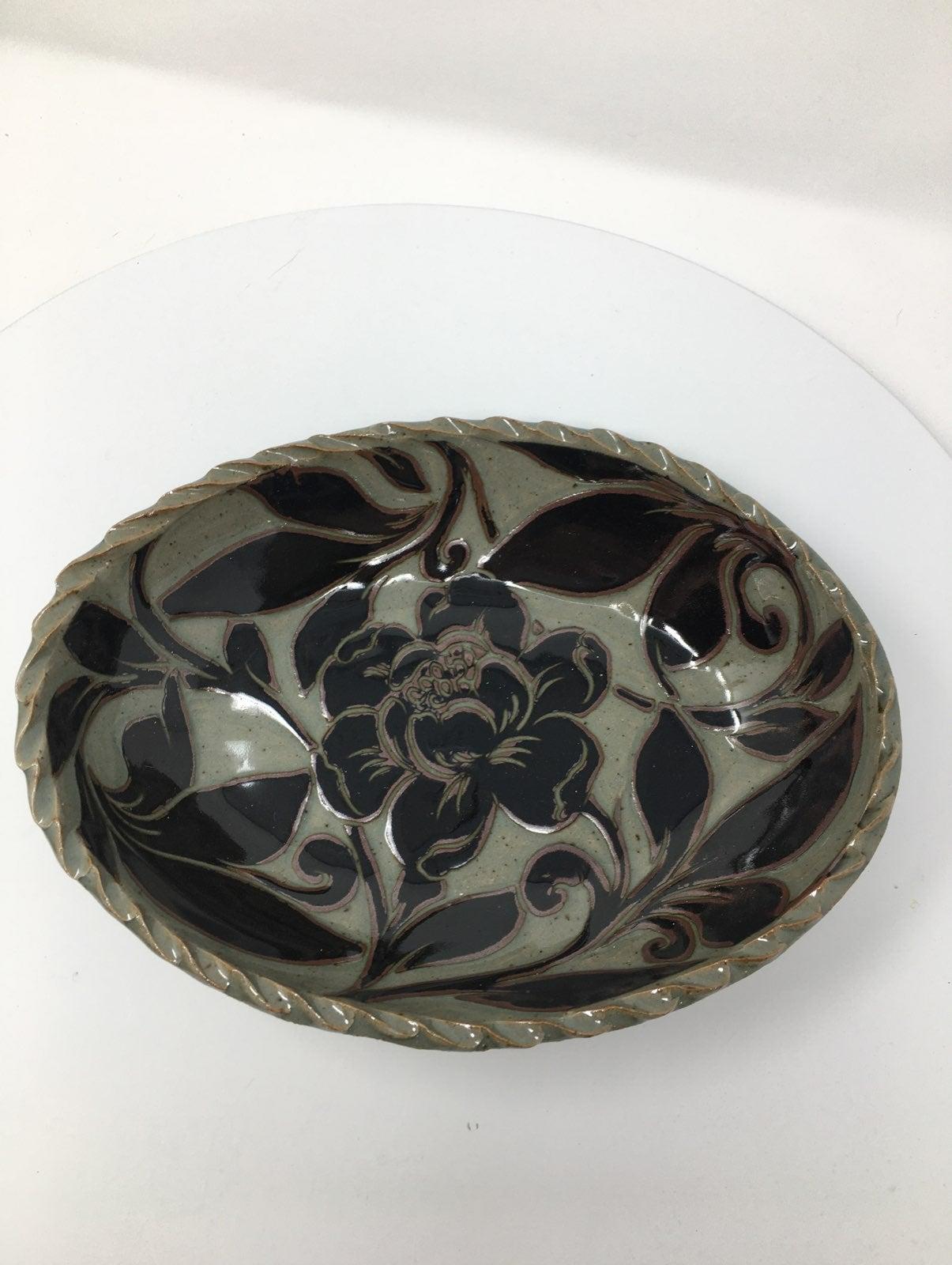 Glazed Ceramic Art Pottery Oval Bowl