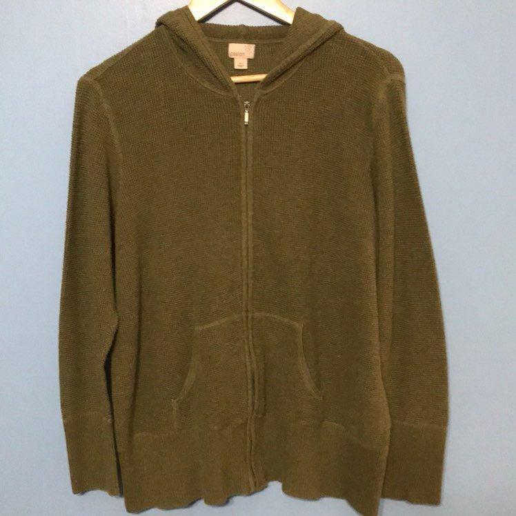 Green Caslon Chunky Knit Hoodie, Size 2X