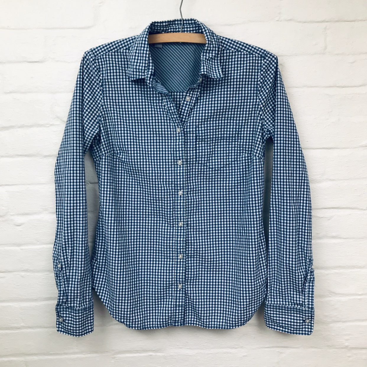 Navy blue checkered oxford top size Smal